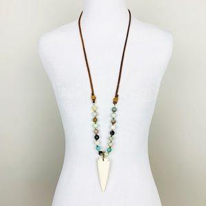 Boho | Arrowhead Stone And Leather Beaded Necklace